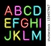 neon glow alphabet. vector. | Shutterstock .eps vector #153457967