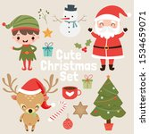 cute christmas elements vector... | Shutterstock .eps vector #1534659071