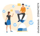 employee sitting on sandglass... | Shutterstock .eps vector #1534674074