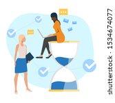 employee sitting on sandglass... | Shutterstock .eps vector #1534674077