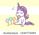 kawaii little unicorn eating... | Shutterstock .eps vector #1534773494
