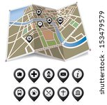 vector city map with pointers. | Shutterstock .eps vector #153479579
