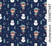 Elf Snowman And Christmas...