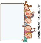 Five kids peeping behind placard.Back to School isolated objects on white background. Great illustration for a school books and more. VECTOR. Editorial. Education. Advertising. Board.  | Shutterstock vector #153488249