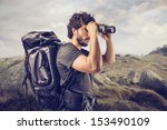 young explorer in high mountain ...   Shutterstock . vector #153490109