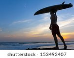 man surfer with surfboard on a... | Shutterstock . vector #153492407