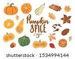 set of hand drawn autumn... | Shutterstock .eps vector #1534994144
