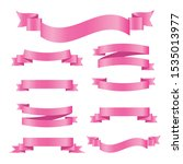 set of pink ribbon banners.... | Shutterstock .eps vector #1535013977