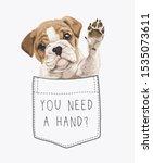 cute puppy in pocket... | Shutterstock .eps vector #1535073611