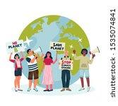 environmental activists draw... | Shutterstock .eps vector #1535074841