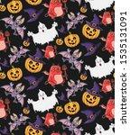 halloween seamless cartoon... | Shutterstock .eps vector #1535131091