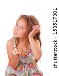 attractive little girl with... | Shutterstock . vector #153517301