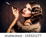 retro woman portrait. beautiful ... | Shutterstock . vector #153521177