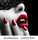 beautiful woman with black lace ...   Shutterstock . vector #153521414
