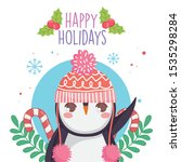 cute penguin with warm hat... | Shutterstock .eps vector #1535298284