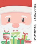 santa face and gifts merry... | Shutterstock .eps vector #1535299481