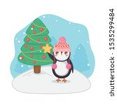 cute penguin and decorated tree ... | Shutterstock .eps vector #1535299484