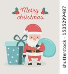 santa claus with bag and gift... | Shutterstock .eps vector #1535299487