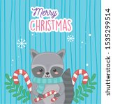 cute raccoon with candy canes... | Shutterstock .eps vector #1535299514