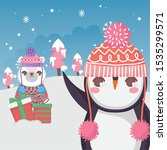 cute polar bear and penguin... | Shutterstock .eps vector #1535299571