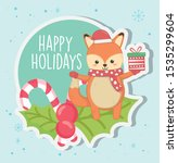 cute fox with gift candy cane... | Shutterstock .eps vector #1535299604