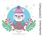 cute polar bear with hat and... | Shutterstock .eps vector #1535299631