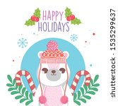 cute polar bear with hat and... | Shutterstock .eps vector #1535299637