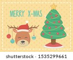 reindeer with balls hanging and ... | Shutterstock .eps vector #1535299661