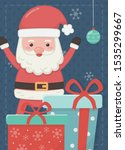 santa hands up with gifts balls ... | Shutterstock .eps vector #1535299667