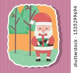cute santa with gift and trees... | Shutterstock .eps vector #1535299694
