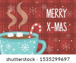 hot chocolate cup marshmallow... | Shutterstock .eps vector #1535299697