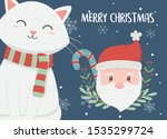 santa and cat candy cane... | Shutterstock .eps vector #1535299724