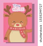 cute reindeer with scarf merry... | Shutterstock .eps vector #1535299727