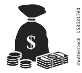money bag black icon with...   Shutterstock .eps vector #153531761