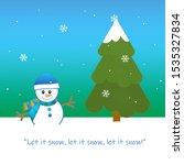 winter snow  snowman  and... | Shutterstock . vector #1535327834