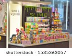 Small photo of King of Prussia, PA/USA-Oct. 18, 2019: Kiosk in the King of Prussia Mall, selling squishies and slime, is reducing prices to liquidate merchandise. Fad gifts, stocking stuffers, tchotchkes, baubles