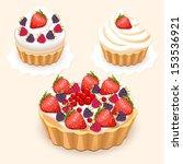 set of cake with fruit   eps10 | Shutterstock .eps vector #153536921