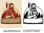 bearded lumberjack mascot hold... | Shutterstock .eps vector #1535374367