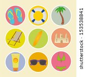 special beach icons on yellow... | Shutterstock .eps vector #153538841