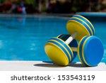 two plastic dumbbells for water ... | Shutterstock . vector #153543119