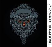mythical owl with traditional...