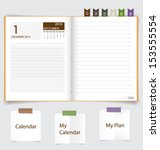 2014 calendar on notebook paper ... | Shutterstock .eps vector #153555554