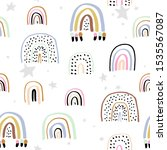 childish seamless pattern with... | Shutterstock .eps vector #1535567087