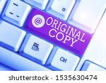Small photo of Writing note showing Original Copy. Business photo showcasing Main Script Unprinted Branded Patented Master List White pc keyboard with note paper above the white background.