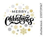 merry christmas gold glitter... | Shutterstock .eps vector #1535729567