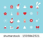 Christmas And New Year Icon Se...