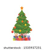 christmas tree decorated vector ...   Shutterstock .eps vector #1535937251