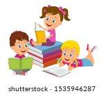 cartoon kids boy and girls read ...   Shutterstock .eps vector #1535946287