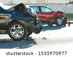 Car Crash Accident On Street....