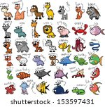 set of cute cartoon animals  | Shutterstock .eps vector #153597431